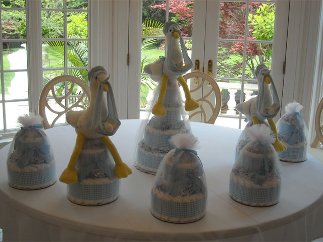 Stork Baby Shower Centerpieces Using Mini Tickled Blue
